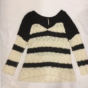 Free People Songbird Rugby Striped V-Neck Sweater